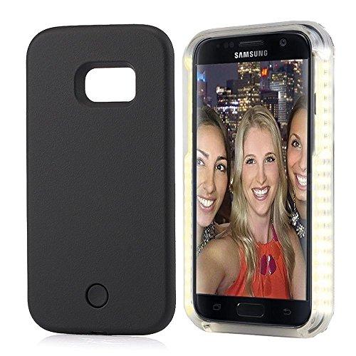 GSY Samsung S7 Edge Selfie LED-Licht Case, Wiederaufladbare LED-Leuchten Flash-Beleuchtung Selfie Case Beleuchtete Abdeckung [Dimmbar Schalter] für Samsung S7 Edge (Samsung S7 Edge, Schwarz)