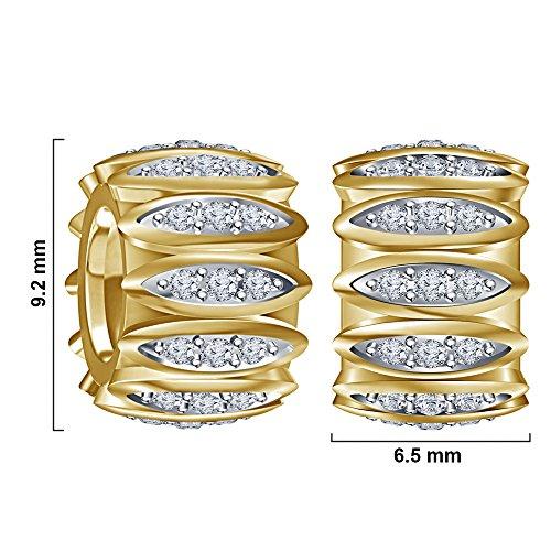 lilu Bijoux Charms argent perles Pandora/Chamilia Charme Bracelet Jaune