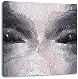 Böse Dämonenaugen Kunst Pinsel Effekt, Format: 60x60 auf Leinwand, XXL riesige Bilder fertig gerahmt mit Keilrahmen, Kunstdruck auf Wandbild mit Rahmen, günstiger als Gemälde oder Ölbild, kein Poster oder Plakat