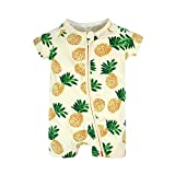 BIG ELEPHANT Unisex-Baby 1 Stück Sommer Kurzarm Fruits Printed Zip up Strampler Q31