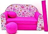 moleo Sofa Kindersessel Ausziehbett, Samt, Prinzessin Pink H35, 98 x 48 x 59 cm