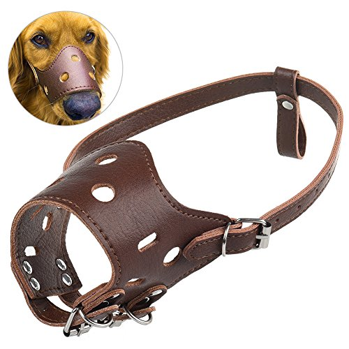 Petacc Anti-Beiß Hunde Maulkörbe Verstellbare Maulkörbe Hund Leder Maul Maske mit Metall Schnallen für Hund Weniger als 25kg