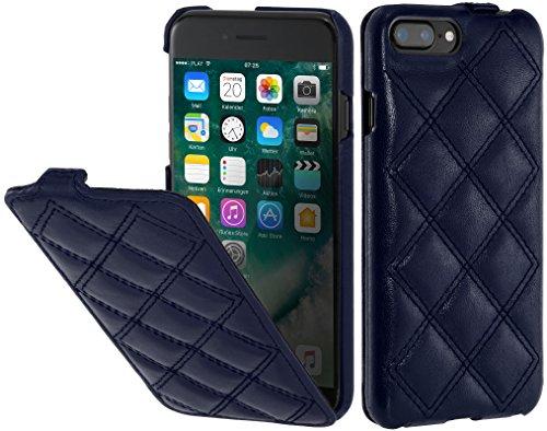 StilGut UltraSlim Case Hülle Leder-Tasche für iPhone 8 Plus & iPhone 7 Plus. Dünnes Flip-Case aus Echtleder für das Original iPhone 8 Plus & iPhone 7 Plus (5,5 Zoll), Schwarz Dunkelblau Nappa - Karat