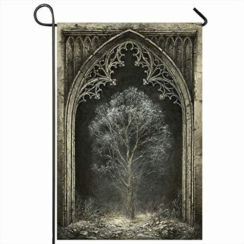 Outdoor Garten Fahnen 12.5 x 18 Zoll mittelalterliche dunkle gotische Fantasy Vintage Baum Eingang metaphysische Allegorie Bogen geheimnisvolle vertikale doppelseitige Home dekorative Haus Hof Zeichen