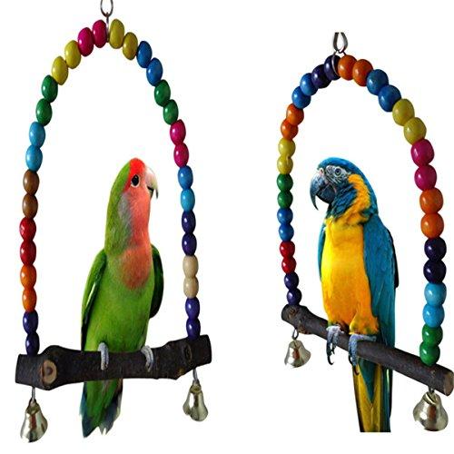 Coco*Store en Bois pour Oiseau Perruche calopsitte Élégante Parrot Swing Jouets Inséparable Budgie Support pour Cage à Suspendre