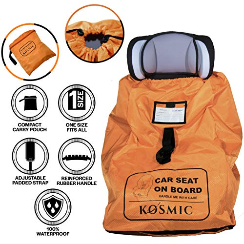Car Seat Travel Bag for Airplane - Cover and Protect Your Child's CarSeat or Booster Seat with Kosmic Carry Bags - Baby and Kids Air Travel Essentials