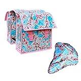 IKURI Set Kinderfahrradtasche - Wasserdicht DoppelPackTasche Gepäckträgetasche Für Kinder Kleine Sattelschoner Fahrradtasche für Klapprad oder Faltrad mit Triangle Sattelbezug aus Wachstuch - Design Hanami