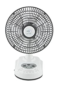 """Akari Ak-8008 8"""" Rechargeable AC/DC Table Fan Solar charging with LED Light"""