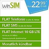 winSIM LTE All 10 GB Allnet Flat [SIM, Micro-SIM und Nano-SIM] monatlich kündbar (FLAT Internet 10 GB LTE mit max. 50 MBit/s mit deaktivierbarer Datenautomatik, FLAT Telefonie, FLAT SMS und FLAT EU-Ausland, 22,99 Euro/Monat)