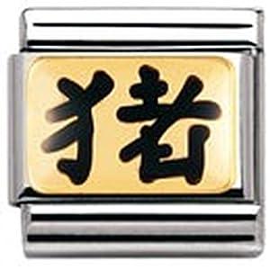 Nomination Composable Classic STERNZ. China Edelstahl, Email und 18K-Gold (Schwein Sternzeichen) 030227