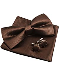 Solid Pre-tied Bow Tie Cufflinks Hanky Set for Men Neck Wear, Coffee