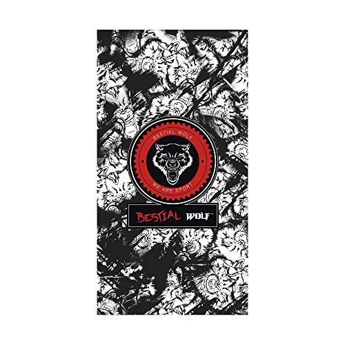 Textil Tarragó Bestial Wolf Toalla de Playa, Algodón, Negro, 33x45x3 cm