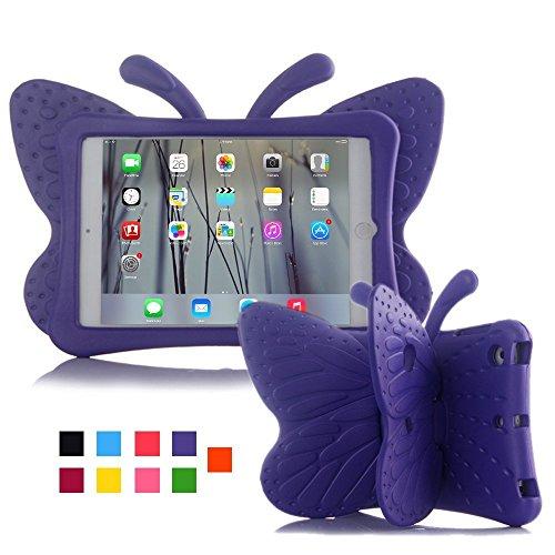 Für Ipad 3 Kinder Fälle (iPad Fall, kids-use 3D Cartoon Schmetterling ungiftig Licht EVA iPad mini Schutzhülle mit Ständer Ständer kindersichere stoßfest Schutzhülle für iPad 2/iPad 3/iPad 4Schutzhülle für Mädchen violett)