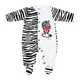 TupTam Unisex Baby Schlafstrampler mit Fuß Gemustert, Farbe: Zebra, Größe: 56