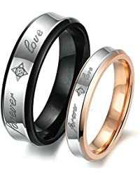 Beydodo Couples Rings for Him and Her Set Size H 1/2-V 1/2 forever love Cubic Zirconia Black Silver Rose Gold