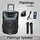 Persang Karaoke Flamingo Trolley Portable Speaker 12 Inch With 2 Wireless Microphone Music System Set / FM Radio / USB / Audio Input / Rechargeable Battery