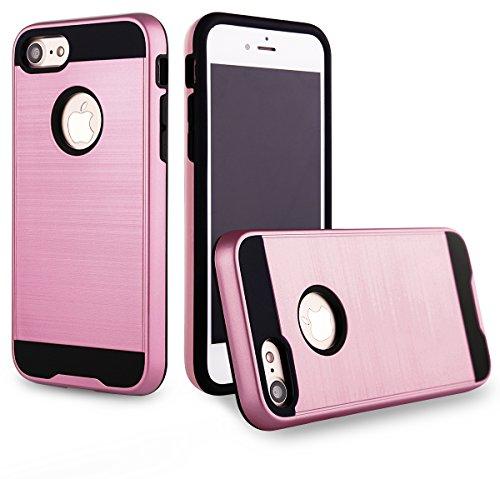 EGO® Hard Case Schutz Hülle für iPhone 7 / iPhone 8, Pink Metallic Effect Brushed Handy Cover Schale Bumper Etui Top-Qualität Pink
