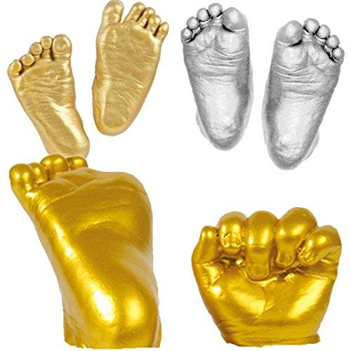 NUOLUX Baby Casting Kit 3D Plaster Handprints, Footprints Keepsake Gift, Free Size (Golden)