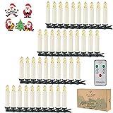 40er LED-Mini-kerstboomkaarsen LED  flikkeren Draadloos dimmen baumkerzen met batterijen (fernbedienung)