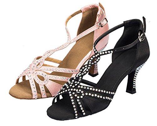 Minitoo L196Donna Cristalli T-Strap raso Latina Salsa Ballroom Dance Sandali Black