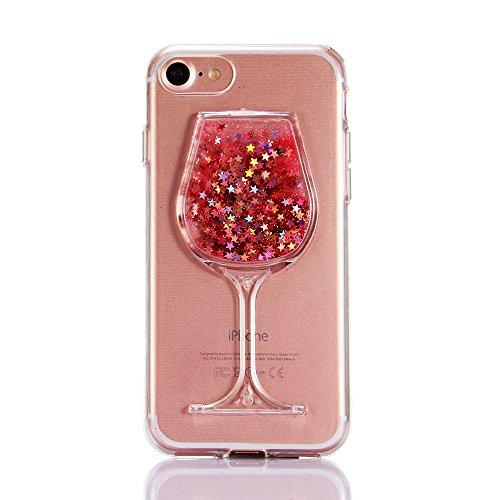 """iPhone 6s Handyhülle, iPhone 6 Liquid TPU Case, CLTPY Kreativ 3D Fließen Flüssig Bling Schwimmend Treibsand Herz, Glanz Shiny Kristallklar Schale Etui für 4.7"""" Apple iPhone 6/6s + 1 x Stift - Dunkelro Rosa Stern"""