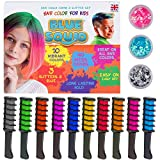 Hair Chalk for Girls Combs - And Glitter Tattoo Set, 10 Temporary Hair Colour Brush for Kids, 20 Stencils, 3 Glitters & Glue, Vibrant Washable Hair Dye, Birthday Gift, Girls Hair Accessories Crayons