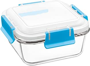 Treo By Milton Borosilicate Bake N Lock Glass Square Container, 340ml, 1-Piece, Transparent