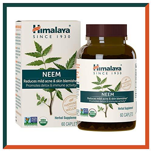 himalaya usda compresse di neem | rimedio per l'acne e brufoli | promuove la disintossicazione e l'immunità | equivalenti a 5300mg di polvere | 60 capsule vegan | 2 mesi di fornitura