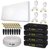 Sat Set von HB-DIGITAL: Megasat Sat-Flachantenne + H30D4 QFA 60-Quad 4 Teilnehmer + 4X Sat-Recever + Halterung + 50m Kabel + 4X Fensterdurchführung + 16x F-Stecker + 8X Gummitüllen + 4X HDMI Kabel