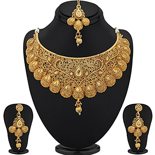 Sukkhi Traditional Gold Plated Necklace Set: Sukkhi Jewellery Set For Women (Golden)(N71789GLDPM1250