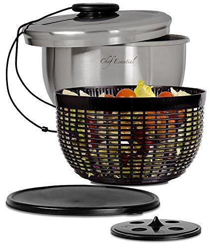 Chef Essential Edelstahl Salatschleuder mit Anti-Rutsch Servierschüssel, Seiher und Lagerungsdeckel