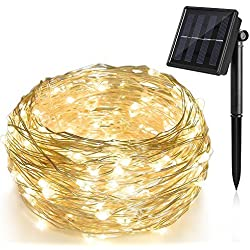 Cadena Luces Solares 200 LED 8 Modos, Ankway 22M 3 Hilos de Alambre de Cobre IP65 Impermeable Guirnalda Luces Solares para Jardin Exterior/Interior, árbol de Navidad, Ventana Valla Bodas-blanco cálido