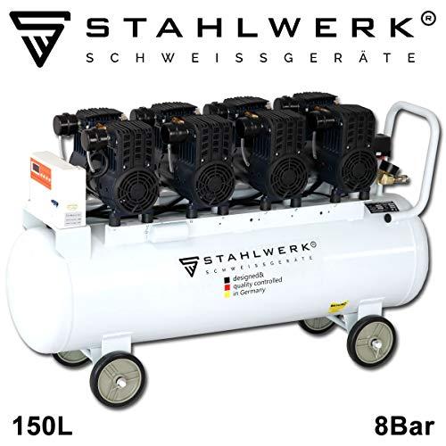 STAHLWERK ST 1508 pro - Compresor de aire comprimido caldera de 150 L, 8 bar, sin aceite, 480 L/min...