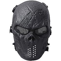 Fansport Masque Tactique, Airsoft Masque de Visage en Plein Air Jeu Visage Masque Masque Facial Complet Masque
