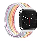 Altsommer für Fitbit Versa (6.7-8.1inches) Candy Farben NylonLoopback Klettverschluss Armband Ersatz Uhrenarmbänder Bracelet Armband Gewebtesv Nylon Uhrenarmband für Damen Herren (J)