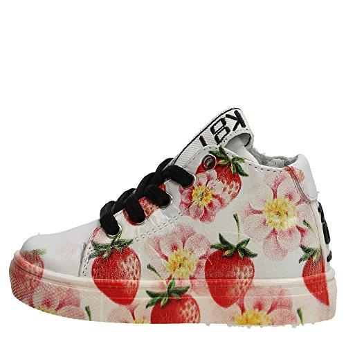 BE KOOL - Scarpa Sneaker bianca stringata in pelle,Fragole e Fiori, Bambina-26