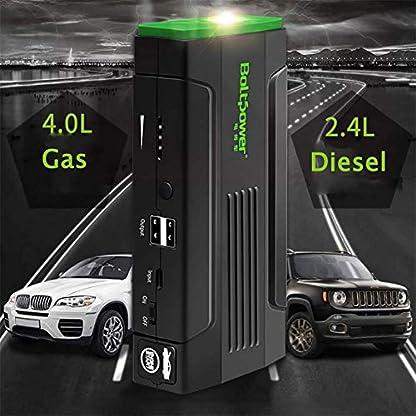 Arrancador de Coches Powerbank Jump Starter (hasta 4, 0L Gasolina o 2, 4L Diesel), 800A 8000mAh 12V IP68 Impermeable con Carga Rápida USB Linterna LED
