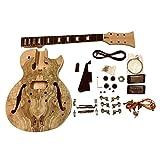 gdlpss MOGANO SEMI HOLLOW struttura con splated acero Veneer con Bianco Rilegatura su corpo chitarra elettrica KIT FAI DA TE PER DA STUDIO & LIUTAIO proietta