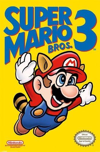 Unbekannt Laminierte Gaming Nintendo Super Mario Bros. 3-Gaming-Poster - 61 x 91.5 - Waschbär Mario Kostüm