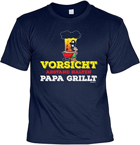 T-Shirt Vorsicht Abstand halten Papa grillt Grill T-Shirt Geschenkidee Grillen Grill Party Geschenk zur Grillsaison Navyblau