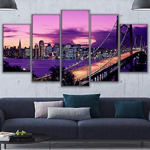 r Gemälde Wohnzimmer Wandkunst Poster Rahmen 5 Stücke Lila Sonnenuntergang San Francisco Bridge Bilder Wohnkultur-4x6/8/10inch,Without frame ()