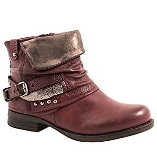 Elara Damen Biker Boots | Metallic Prints Schnallen | Nieten Stiefeletten Lederoptik | Gefüttert F275-Rot-38
