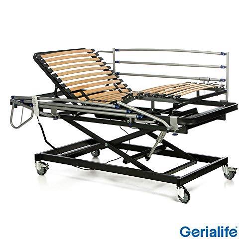 Gerialife® Cama articulada geriátrica hospitalaria con Carro Elevador | Barandillas abatibles (90x190)
