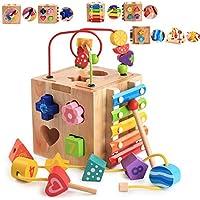 Mailesi Cubo de Actividades 5 en 1, Centro de Actividades Bebe Laberinto de Cuentas Montaña Rusa Preescolar Educación temprana Caja de Aprendizaje Xilófono Juguetes para Niño cumpleaños