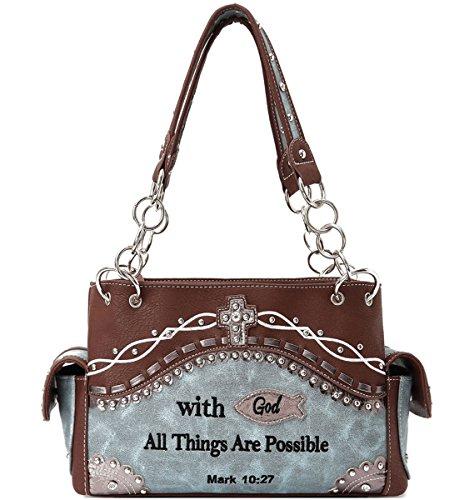Biblische Handtasche Cowgirl Trendy Bibel Verse Tasche - Frauen Türkis Für Bibel
