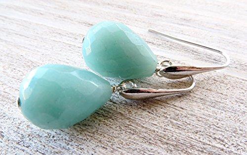 Orecchini con gocce di amazzonite azzurra, pendenti in argento 925, gioielli pietre naturali, bijoux realizzati a mano, accessori donna