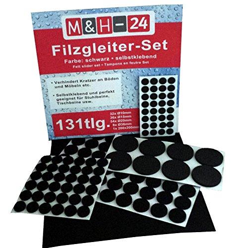 M&H-24 Filzgleiter Set selbstklebend, 131-teilig Filzplatte Möbelgleiter Stuhlgleiter Bodenschutz Kratzschutz Rund Filz