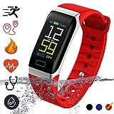 Bluetooth Smartwatch Fitness Uhr Intelligente Armbanduhr mit Schrittzähler Herzfrequenzmesser Schrittzähler Schlaftracker Kompatibel mit iOS Android Smartphone (Rot)