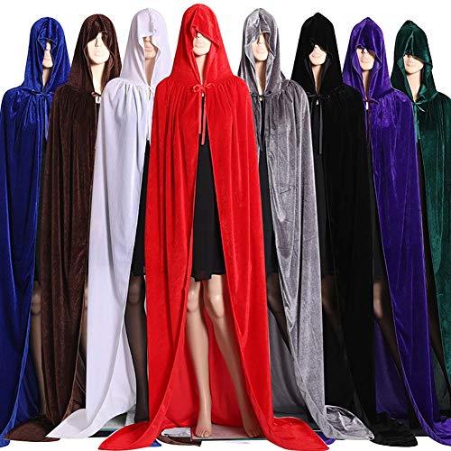 SELUXU Halloween Unisex Velluto lungo con cappuccio Mantello Cape Deluxe Vampire Fancy Dress Wedding Witch