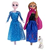 #4: Frozen Princess Sisters Anna & Elsa Dolls with Snow Olaf by Wishkey|Frozen Doll Set Under Rs 500|Doll Set in Low Price|Doll Play Toy Gift Set for Girls